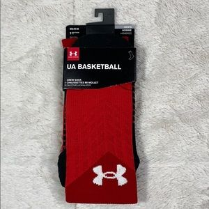 Red and Black Under Armour Crew Socks